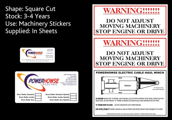 sticky stickers and powerhowse electric - machinery stickers