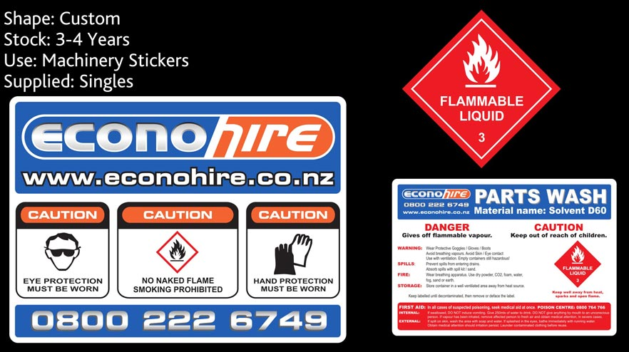 econohire custom stickers nz